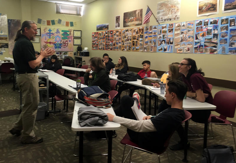 A mixed class of juniors and seniors talks geopolitical history at Explore Academy in Albuquerque.