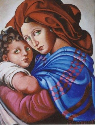 """Madonna Afgana"" by Simone Debbas (Oil on Canvas, 14 x 16)"