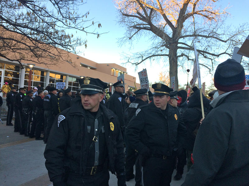 New Mexico State Police outside the Milo Yiannopoulos event at UNM in January. They were there along with the UNM Police Department, the Albuquerque Police Department, and the Bernalillo County Sheriff's Department.