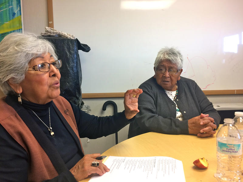 Becky Martin (left) and Ida Madalena contribute words to the Keres Language Recovery Project.