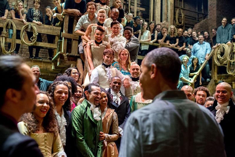 President Obama greets the cast of Hamilton
