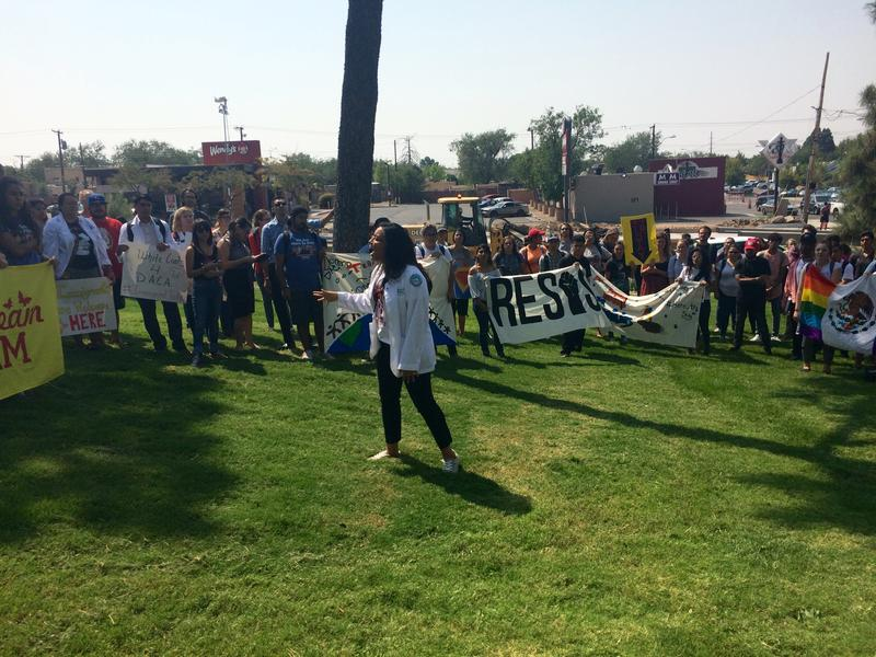 Yazmin Irazoqui-Ruiz leads the crowd in chants during the demonstration on Tuesday, Sept. 5, at UNM.