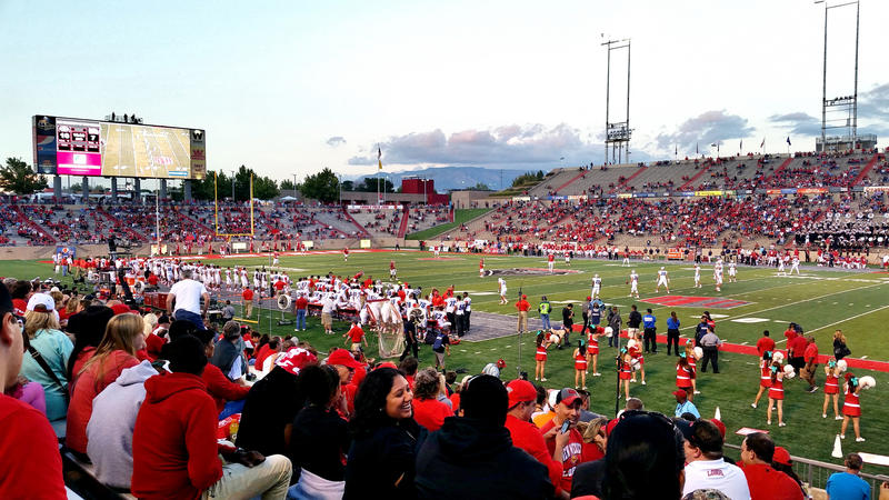 Fans at a UNM football game.