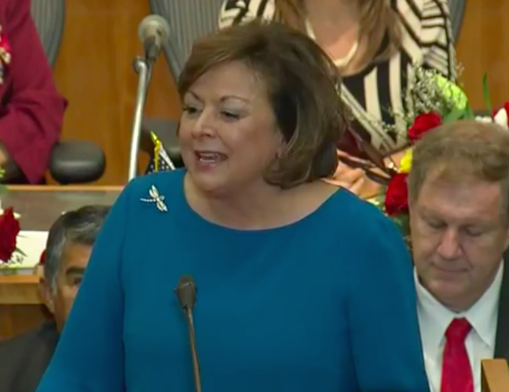 Governor Susana Martinez giving the 2018 State of the State address.