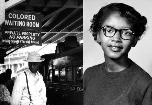 Claudette Colvin is an unsung hero of the struggle for civil rights. Composite photo with train station from Durham, NC during Jim Crow.