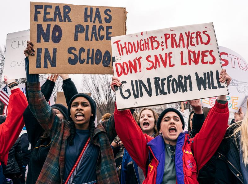 Teens protesting after the Parkland shooting in Washington, D.C.