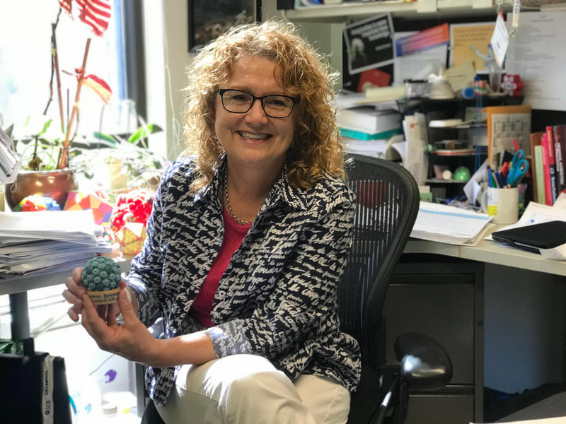 Michelle Ozbun, PhD, holds a model of the human papilloma virus particle.