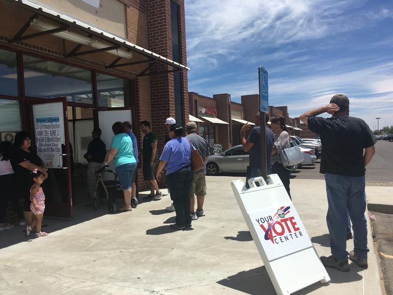 A steady stream of voters arrived Tuesday afternoon to the polls at 98th and Central in Albuquerque.