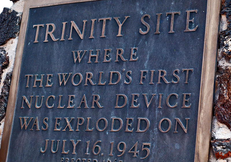 A plaque commemorates the 1945 Trinity test at White Sands Missile Range in southern NM.