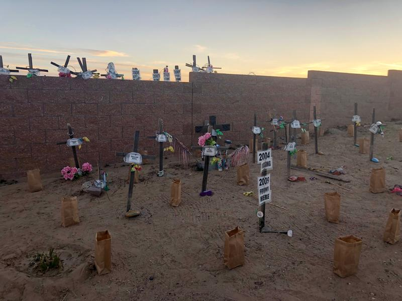 A memorial site set up by Street Safe New Mexico earlier this year.