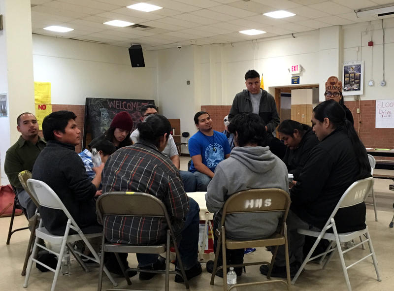 Students from the Native American Community Academy gather at the start of a youth-led workshop at Highland High School in January 2017.