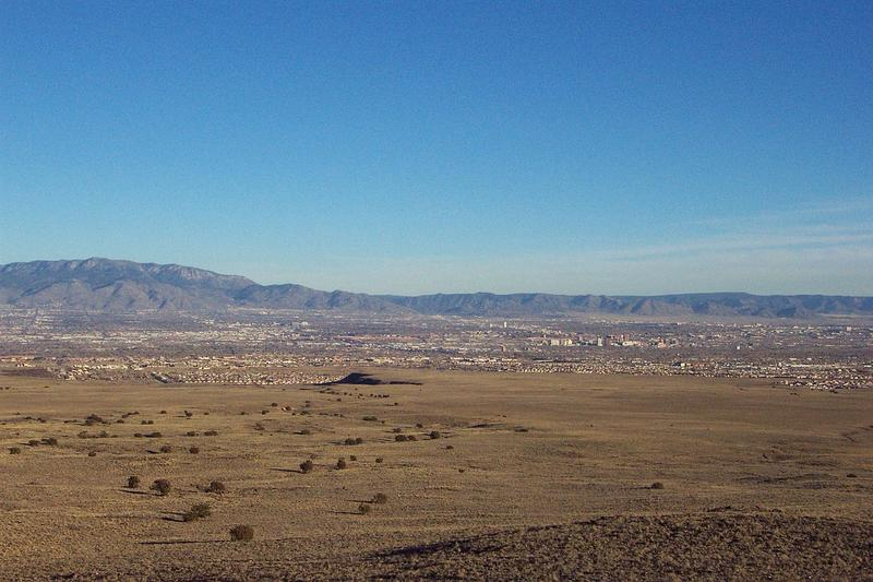 A view of Albuquerque from the volcanoes on the West Mesa.