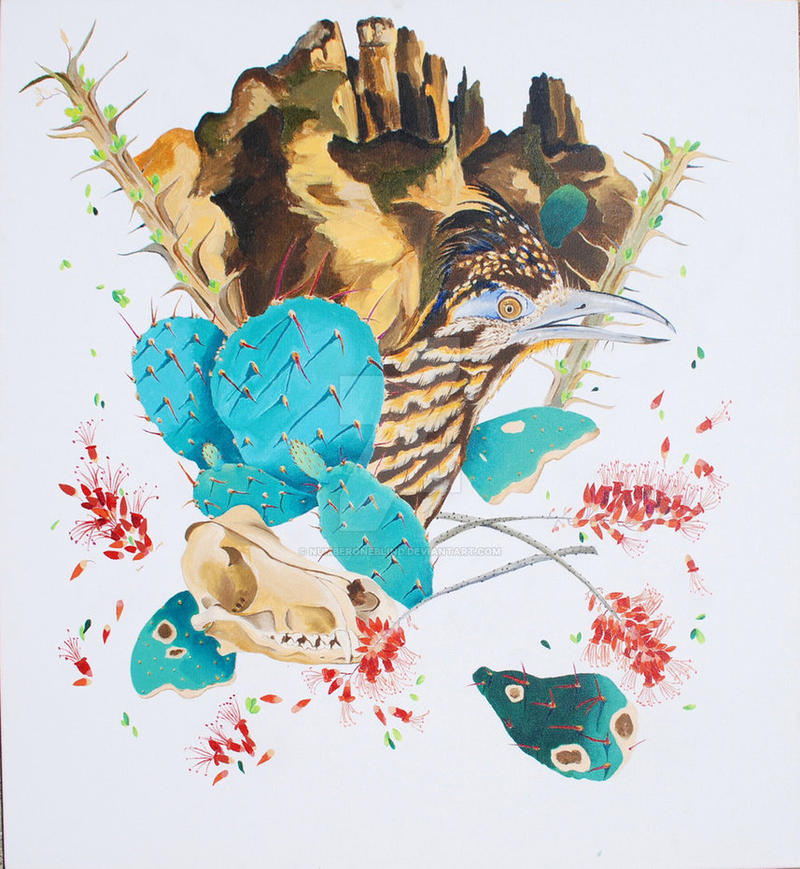 An earlier work by Robbin Bates, Sonoran Lifecycle II, acrylic on canvas 36x36 inches. 2015