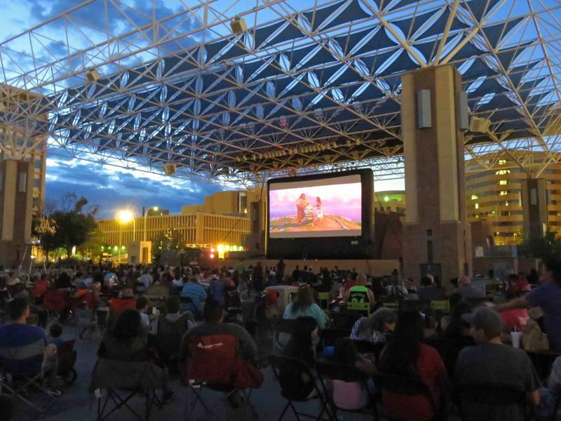 Movie night on Civic Plaza