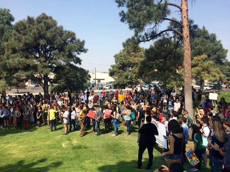 Hundreds of people turned out to protest at the University of New Mexico after President Trump announced the end of DACA in September 2017.