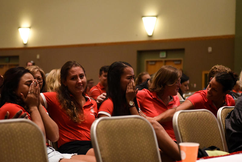 Members of the UNM Women's Dive Team burst into tears as the regents announce their sport will be reinstated.