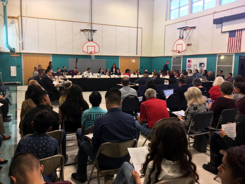 Dozens of middle school students attend an interim Legislative Education Study Committee met at Hawthorne Elementary school in Albuquerque.