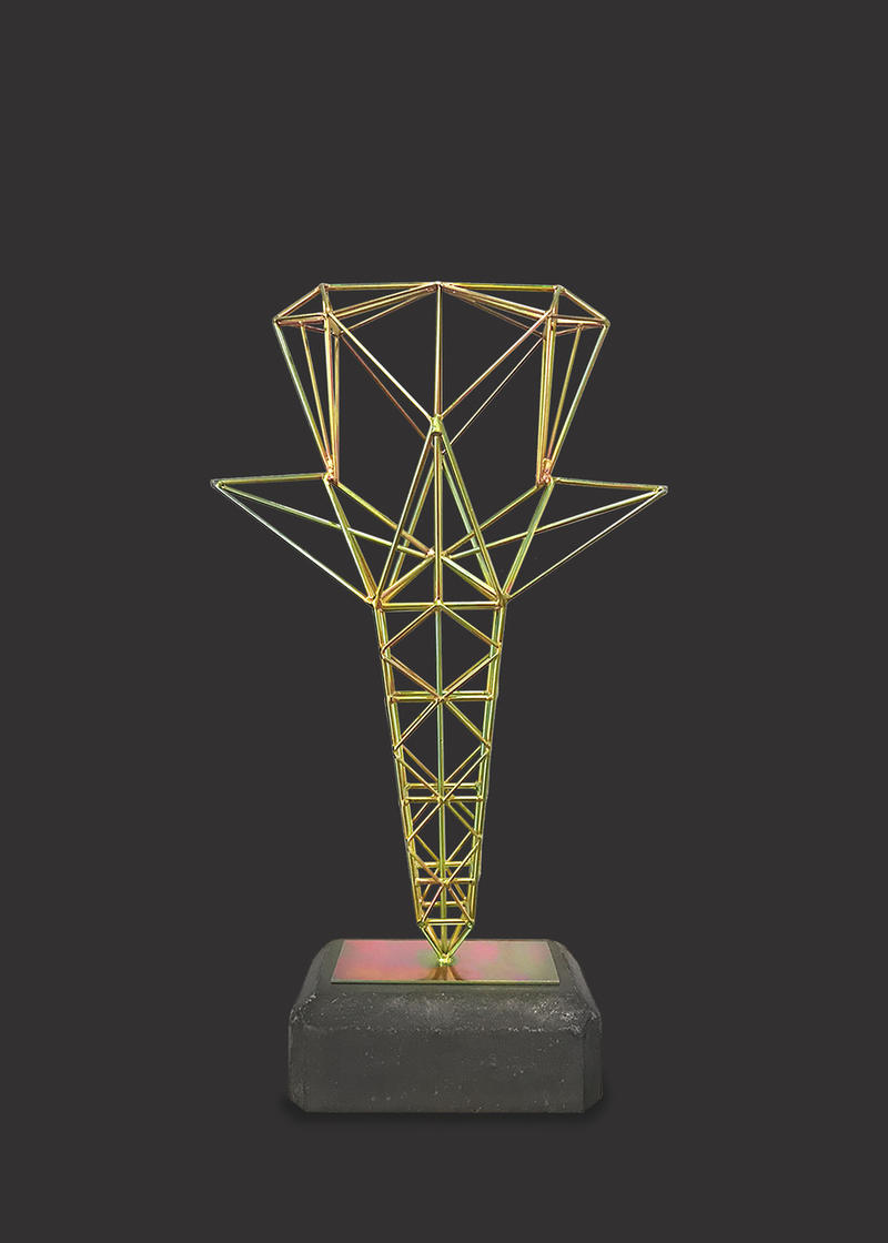 "Yellow Star Tower Trophy Series 33  (1 of 3), Hernan Gomez Chavez, 24"" x 14"" x 5 /12,"" Yellow zinc plated steel, stainless steel and polished concrete, 2018."