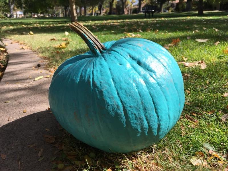 A teal pumpkin outside a home means trick or treaters can get something other than candy