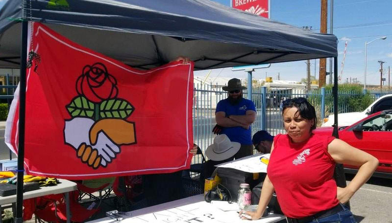 Cathy Garcia of the Santa Fe Democratic Socialists of America worked a previous brake light clinic.