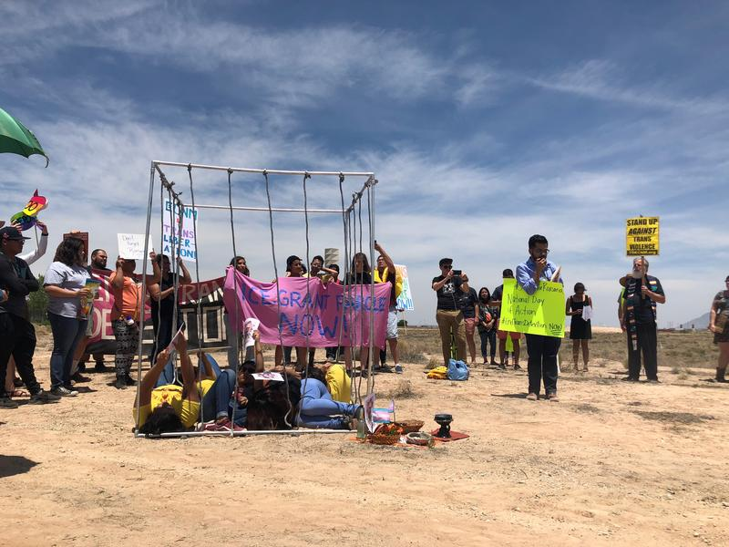 Protesters demonstrated outside ICE's Albuquerque field office in June after Roxsana Hernandez died while she was in custody.