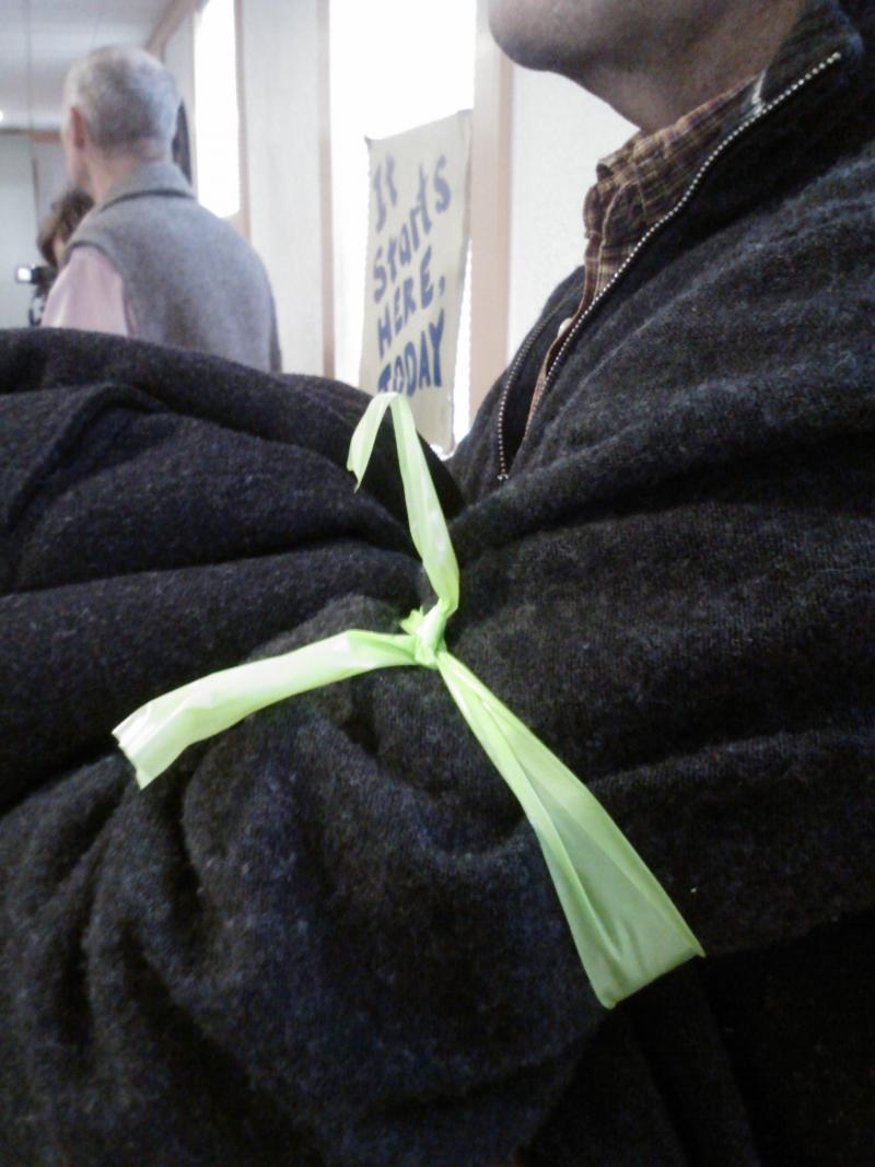 Supporters of the Community Rights Ordinance wore green armbands
