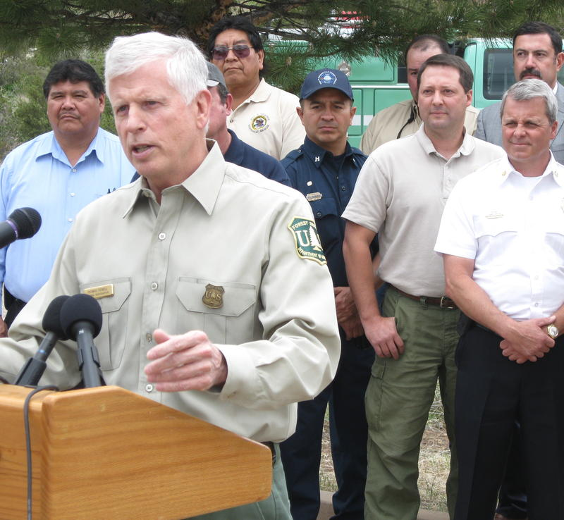 Regional land managers look on as US Forest Service chief Tom Tidwell talks about fire readiness.