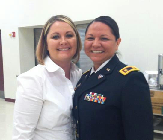 Married couple Jennifer and Christina Altamirano at Christina's latest promotion ceremony in the US Army Reserves.