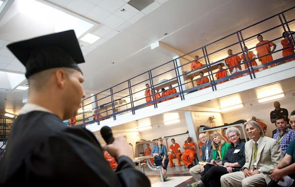Graduate Daniel Montoya addressing fellow inmates.