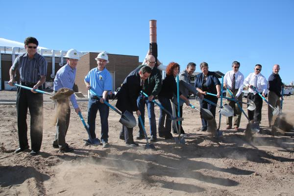 Residents from Albuquerque's Mountain View Neighborhood break ground on the new Pre-Treatment facility alongside Councilman, Plant Workers and Board Members from the Water Utility Authority.