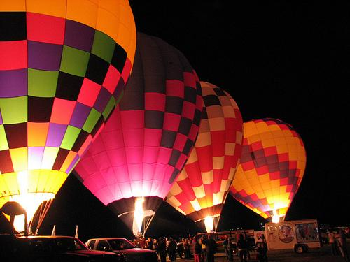 Balloon Glows, when inflated hot air balloons are lit up simultaneously at night, are some of the most popular events at the Albuquerque International Balloon Fiesta.