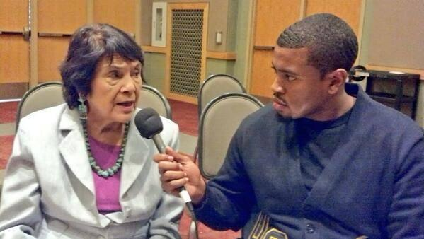 Civil rights activist and legendary labor leader Dolores Huerta sitting down with Generation Justice Fellow Jason Fuller.