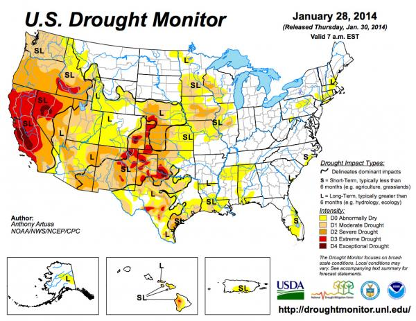 The US Drought Monitor drought map for January 28, 2014.