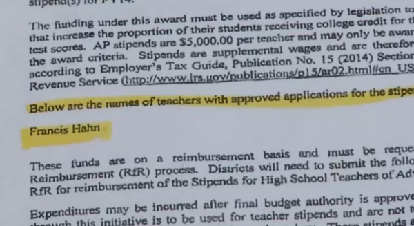 Taos High School teacher Francis Hahn turned down thousands of dollars from the state saying everyone from custodians to cooks to middle school teachers are responsible for a student's success.