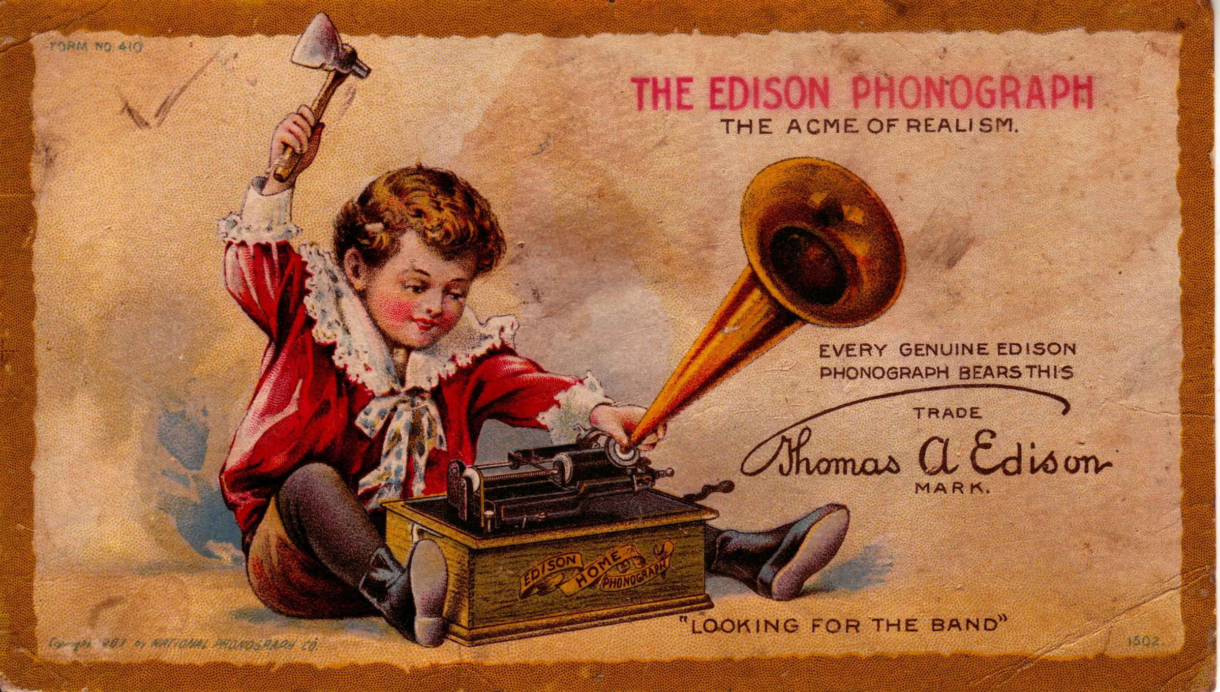 Image result for edison announced the invention of the phonograph