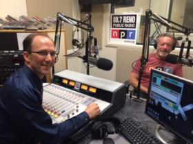 David Stipech interviews NPR CEO Jarl Mohn in the KUNR studios July 24, 2014.