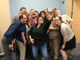 KUNR's staff takes a selfie with NPR's CEO Jarl Mohn July 24, 2014.