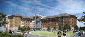 A sketch of Peavine Hall, which will be open as student housing on the UNR campus for the fall of 2015.