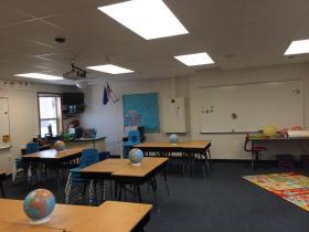 Inside a third grade portable classroom.
