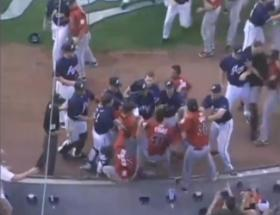 A screenshot taken of the Reno Aces brawl with the Albuquerque Isotopes on July 26.