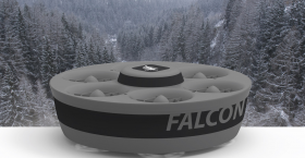 The Falcon drone designed by Ashima Devices. The company makes unmanned aerial vehicles (UAVs) to help first responders gain situational awareness when they arrive on scene in an emergency situation, like a wildfire.