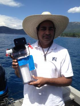 UNR's Sudeep Chandra has partnered with a company to develop a filter that could keep invasive species out of Tahoe and other lakes.