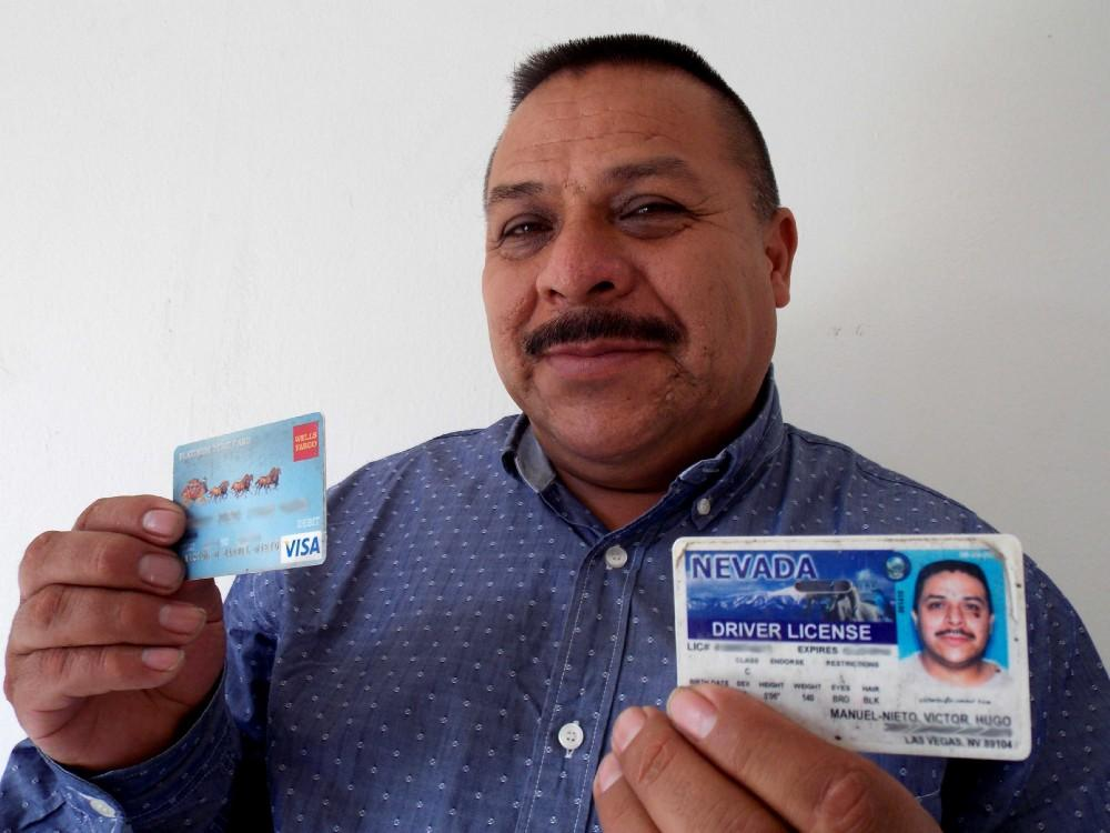 Hugo keeps his Nevada driver's license and a credit card to remember his time in Las Vegas. CREDIT: Guillermo Bautista