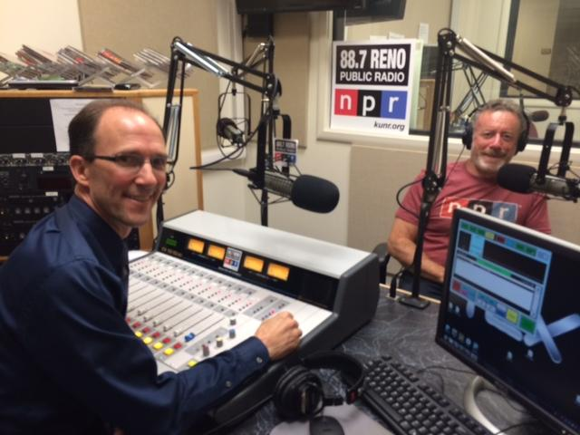 David Stipech interviews NPR CEO Jarl Mohn in the KUNR studios July 24, 2014.