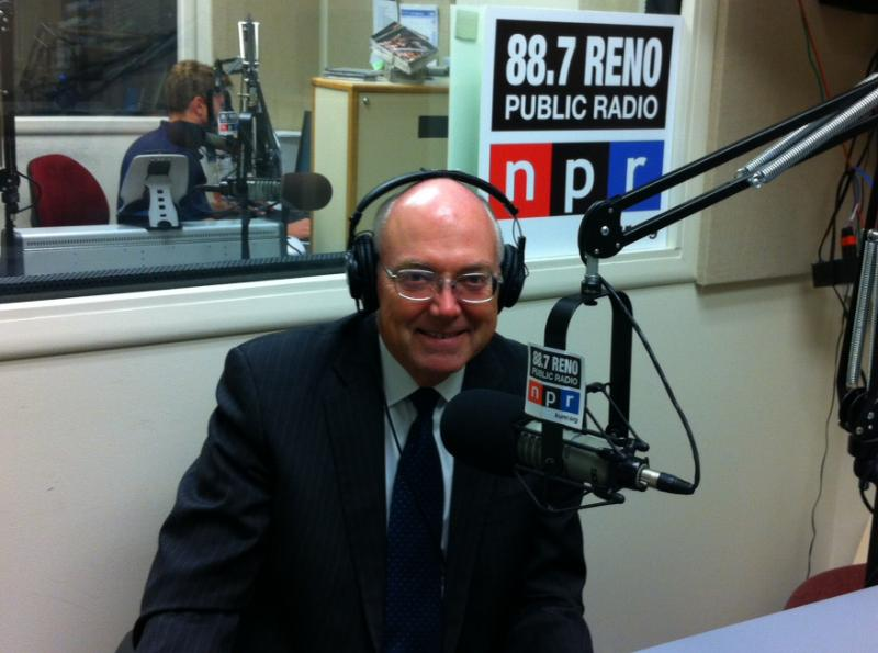 President Marc Johnson in the KUNR studios, September 2014
