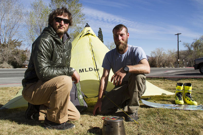 Outside the KUNR studio, Justin Lichter (left) and Shawn Forry set-up a few items from their ultra-light backpacking trek through the Pacific Crest Trail in winter. Photo by Alexa Ard.