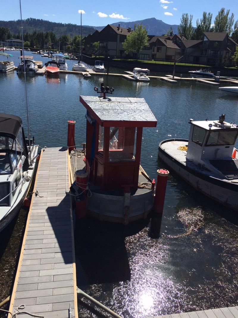 Milfoil clogs up the Tahoe Keys Marina.