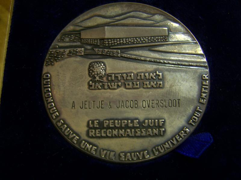 The Yad Vashem medal of honor for the Righteous Among The Nations presented to Jacob Oversloot in 1975.