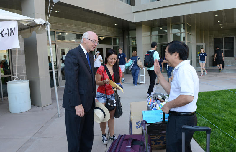 "University of Nevada, Reno President Marc Johnson greets students and parents on ""Move-in Day"" Aug. 20, 2015."