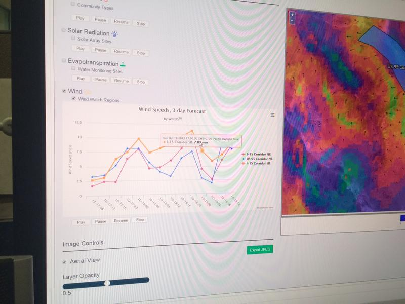 WINDS platform creates data tables showing specific climate related events. Including wind speed, temperature and solar radiation.